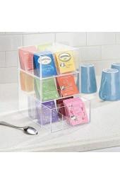 mDesign Küchen Organizer mit 3 Schubladen – Aufbewahrungsbox für Teebeutel Kaffeepads Süßungsmittel und mehr – Teekiste aus Kunststoff – durchsichtig