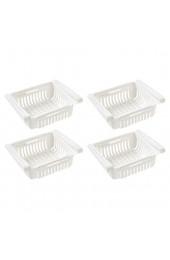 Smniao Kühlschrank Schublade Organizer Ausziehbare Kühlschrank Regal Halter Aufbewahrungsbox Kühlschrank Partition Layer Home Organizer (4 Stück Weiß)