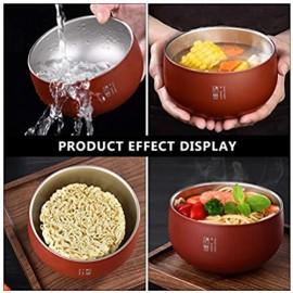 PIXNOR Edelstahl Schüssel 450Ml Isolierte Suppe Schüssel Nudel Schüssel Für Getreide EIS Reis Instant-Nudeln Salat (Rot)
