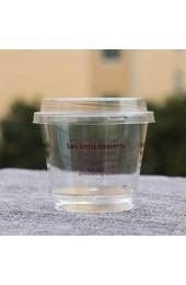 TOYANDONA 50 Set Einweg Dessert Tasse Kunststoff DIY Tiramisu EIS Pudding Joghurt Tasse Klare Party Vorspeise Snack Schüssel mit Löffel Deckel Zufällige Farbe