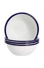 Argon Tableware Müslischüsseln mit Emaille-Beschichtung - Weiß mit blauem Rand - 155 mm - 4er-Set