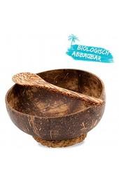Chinchilla® Kokosnuss Schale Set aus 2 Bowls mit Holzlöffel + Halteringen  Für Buddha Bowl und Acai Bowl   Deko Schale   Coconut Bowl   Nachhaltig & Vegan   mit Kokosöl poliert