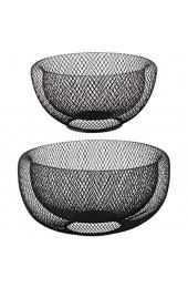 Bada Bing 2er Set Metall Korb Drahtgeflecht Obstkorb In 2 Größen Aus Draht Schwarz Metallkorb Dekoschale Modern Rund Metall Design 2fach 14/15