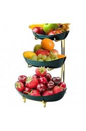 JUNGEN Obst Etagere 3 Etagen Porzellan 3 Stöckig Obstschale mit Metallgestell Keramik Obstschale Serviert Ständer Servierteller für Obst Kuchen Süßigkeiten