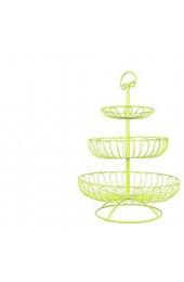 Juvale Obst-Etagere - Obstkorb/Obstschale mit 3 Ablagekörben Leicht un Stabil - Für Mehr Platz auf der Arbeitsplatte - Ideal für Küche Esstisch - Eisen Limettengrün 40 6 cm