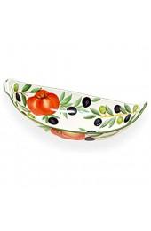 Lashuma Keramikschale Oval Serviceschüssel Bemalt mit Tomaten - Oliven Obstschale Reliefkeramik Größe 30 x 15 cm