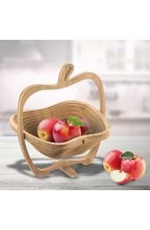 Monsterzeug Obstkorb zum Klappen Holzschale Apfel Faltkorb Bambus Untersetzer Klappkorb faltbar - 27 x 23 x 30 cm (aufgeklappt)