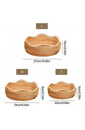 TETHYSUN Runder Rattan-Obstkorb Weidenkorb Brotschale Aufbewahrungskorb Schüsseln Küche Organizer Snack Servierschüssel für Zuhause und Restaurant