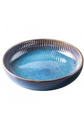 Hoteck Pastateller aus Keramik Groß Suppenteller Oder Speiseteller Salatteller Premium Porzellan 21cm Blau(1PCS)