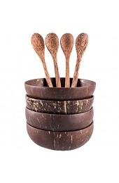 Kirmax Kokosnuss Schalen L?Ffel Set 4 Schalen 4 L?Ffel Geschenk für Veganer Salat Frucht Snack Schale für KüChe Essen und Dekoration