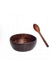 Kokosnuss Schale Set - Handmade Geschirr Set Deko Schale Holzlöffel Essstäbchen Bowl Mit Kokosöl Poliert Für Küche Essen Und Dekoration