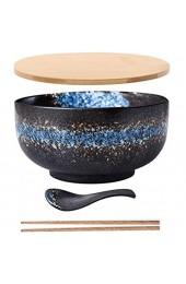 MUXUE Japanischer Schüssel mit Deckel Löffel Vintage Ramen Schale aus Keramik Handgezeichnete Reis Schüssel Instant Nudel Schüssel 6.5 Zoll