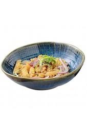 Salatschalen aus Keramik Große Blaue Salate Teller Kreative Porzellan Suppenschalen für die Küche Tafelsevice Modern Essgeschirr Multifunktional als Servierschale