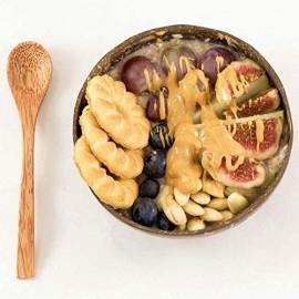 TTBD Kokosnuss Schalen L?Ffel Set 4 Schalen 4 L?Ffel Geschenk für Veganer Salat Frucht Snack Schale für KüChe Essen und Dekoration