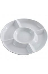 BESTONZON Dip/Snack Schalen 5-Fach unterteiltem Melamin-Menüteller/Antipasti-Teller Appetizer Tray Sharing Platte für frische Snacks (9 Zoll 22.5 x 2 6 Weiß)
