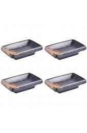 Cabilock 4 Stück Keramik Schälchen Mini Dipschalen Rechteckig Form Servierschalen Japanische Saucenschälchen Gewürzschale Snack Schälchen Obstbehälter für Sojasauce Dip