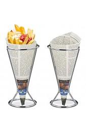 Relaxdays Pommeshalter 2er Set Edelstahl für Spitztüten mit Pommes Chips Gemüse Snackhalter HD 16 x 9 5 cm silber