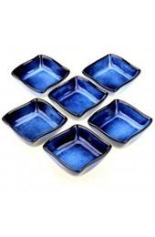 Urban Lifestyle 6 x Saucenschälchen/Dipschale Nami aus Porzellan handglasiert 6x6cm (dunkelblau)