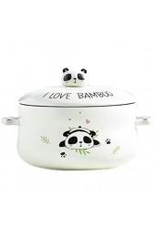 Creative Home Keramik Instant Nudelschüssel Mit Deckel Cute Panda Big Suppenschüssel Cartoon Ramen Salatschüssel Verbrühschutz Binaural 7 5 Zoll Geschirr (Color : Green)