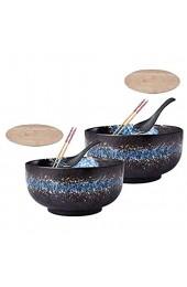 FLYTYSD Kreative Keramik-Suppe Japanische Keramik Ramen-Schüssel Große Tiefe Innere Schalen Mit Deckel Löffel Stäbchen Ramen Pho Nudelsuppe Udon Donburi 2 St.