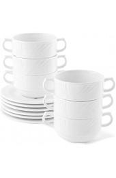 Holst Porzellan LUB 530 12 Porzellan 12er Set Suppentassen 0 30 l Lubin mit Untere für 6 Personen