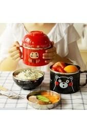 ishowstore 3Lagen Instant Nudelschale Edelstahl Ramen Nudeln Suppe Pastaschüssel Lunchbox schwarz