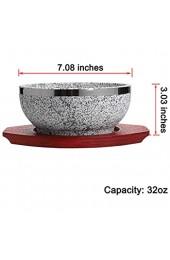 MDLUU 2 Stück Dolsot Bibimbap Schüssel Granit Stein Schale mit Holzboden Dolsot Topf für koreanische Suppe Reis und Eintopf