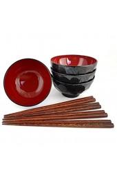Misosuppe Schalenset KURO Japan Miso Suppenschalen inklusiver Essstäbchen Set Suppenschüssel Ø 11 6 cm H. 6 cm