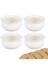 Premium Zwiebelsuppenschalen - weißes Porzellan - 4er Set mit Korkuntersetzer 12 oz