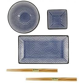 TOKYO design studio Glassy Blau Design Wave Set mit 2 Tellern + 2 Saucen-Schalen + 2 Reis-Schalen+ 2 Essstäbchen 8-TLG Steingut