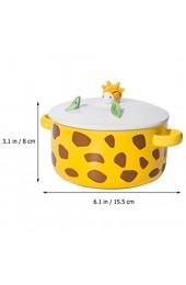 Yardwe Keramikschale mit Deckelgriff Niedliche Giraffe Ramen Schüssel Mikrowelle für Instant-Nudel-Müsli