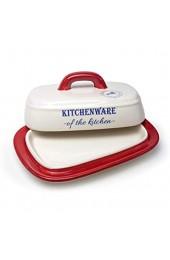 Antec Butterglocke Keramik verschließbare Butterdose für 250 g Butter Butterbox für Haushalt und Küche Butterschale mit Deckel und Griff RED
