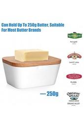 Aramox Butterdose Melamin Butterdose Butterbehälter mit Holzdeckel Luftdichte Butterdose für 250 g Butter Tischfeine Aufbewahrungsbox