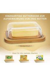 Butterdose aus Glas mit Bambusdeckel für 250 g Butter BPA-frei transparent Butter Dish Bambusabdeckung Butterdose Glas mit Deckel mit edler Verpackung