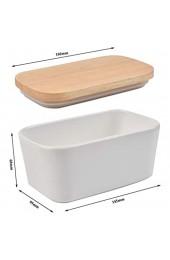 Butterdosen Porzellan-Butterschale Butterbehälter Behälter mit Eichenüberzug Nussbutter-Aufbewahrungsbox mit Silikondichtung Lebensmittelaufbewahrungsbox für 2 Butterstäbchen (weiß)