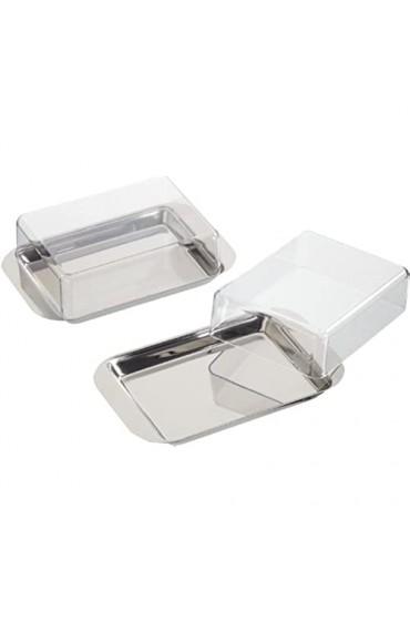 chg Kühlschrank-Butterdose aus rostfreiem Edelstahl mit Klarsichtdeckel Kunststoff Silber 15 x 9 5 x 4 5 cm