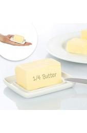 com-four® 2X Mini Butterdose aus Keramik - kleine Butterglocke in weiß - Butterschale mit Deckel - Butterbox spülmaschinenfest - Butterbehälter - 9 x 7 5 cm