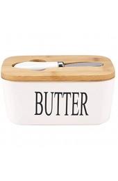 Goklmn Große Butterdose mit Messer Keramikbutterbehälter mit Bambusdeckel und doppelschichtige Silikonversiegelungsbutterteller