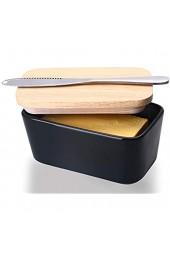 Große Butterdose aus Keramik Butterdose mit Holzdeckel luftdichter Butterbehälter leicht zu halten 2 Sticks Butter 500 ml Butterdose mit Messer
