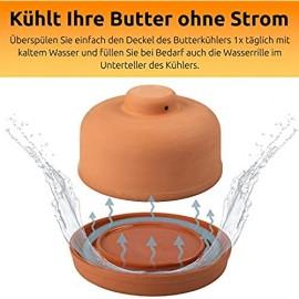 NaturGut Mediterraner Butterkühler aus Ton - frische Butter ohne Kühlschrank - Butterdose Butterbox ohne Strom ohne Energie Umweltfreundlich