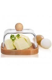 PLATINUX Butterdose Aufbewahrungsdose aus Glas und Buchenholz Butler Butterbox Butterschale