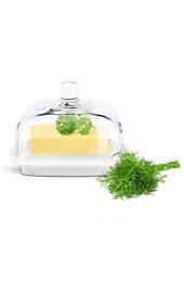 Sendez Kleine Butterdose auf Porzellanteller Butterglocke Butterschale Kühlschrankbutterdose