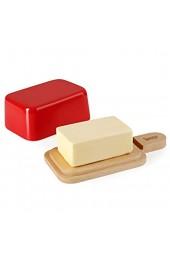 Sweese 323.104 Butterdose Porzellan mit Holzdeckel für 250 g Butter Rot