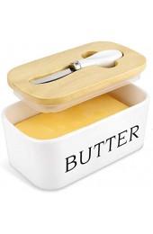 X-Chef Butterdose Porzellan mit Holzdeckel und Buttermesser Butterbehälter für 250g Butter Keramik Butter Boot mit Dichtungsring Klassisch -Weiß