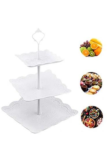 AFASOES Obst Etagere Kunststoff Kuchenständer 3 Etagen Quadratischer Dessertständer Obst Halter Etagere Weiss Cupcake Ständer Tortenhalter für Kuchen Obst Desserts (14.5 * 19.5 * 24.5 cm)