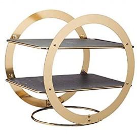 Artesà Ringförmige Zweistöckige Etagere für Lebensmittel 2 Ebenen Rechteckige Schieferplatten Ideal für den Nachmittags Kaffe Kuchen oder Veranstaltungen 31 5 x 22 5 x 30 cm – Messing-Optik