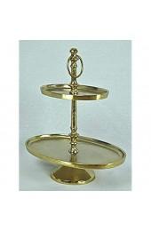 crafts & design Etagere oval 2 Etagen Aluminium Gold rau Finish 29x19 5x34cm