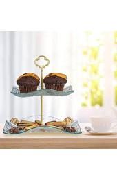 Relaxdays Etagere 2-stöckig Snacks Kekse & Muffins eckig Glas & Metall Servierständer 25x24x24cm transparent/gold