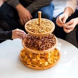 Relaxdays Etagere Bambus H: 25 cm D: 30 cm 3-stöckige Obstetagere aus Holz mit 3 runden Schalen zur Ablage von Gebäck Kekse Party-Snacks Nüsse Süßigkeiten als Obstteller und Servierplatte natur