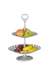 Relaxdays Etagere Metall mit 2 Ebenen HBT: 44 x 31 x 31 cm Servierplatte aus Aluminium zweistöckig für Obst Kekse und Knabberzeug Servierteller als Dessertteller oder Obstetagere silber